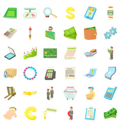euro icons set cartoon style vector image