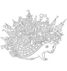 Fantasy hedgehog coloring page vector