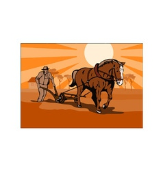 Farmer and horse plowing farm retro vector