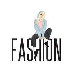 Fashion model posing on huge letters beautiful vector