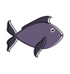 fish dark blue sideview icon imag vector image