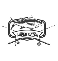 fishing sport emblem template with fisherman vector image
