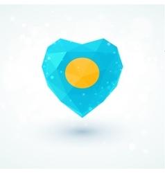 Flag of Palau in shape diamond glass heart vector image