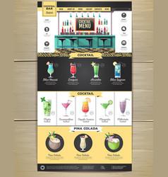 flat cocktail menu concept web site design vector image