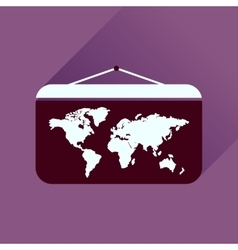 Flat icon with long shadow World map vector