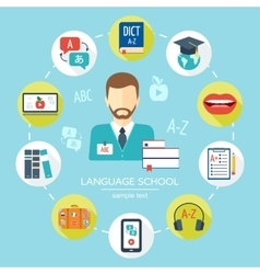 Foreign language school and courses flat icon set vector image