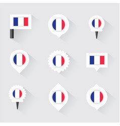 France flag and pins for infographic and map vector