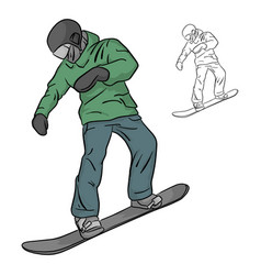 freeride snowboarder rolls on a snow vector image
