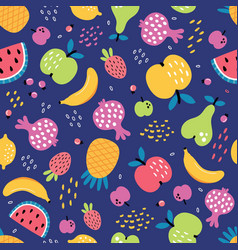 fruit seamless pattern on a blue background vector image