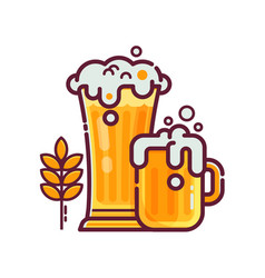 full glass of beer with foam vector image