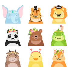 funny animals wearing different hats set elephant vector image