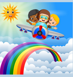 funny boy riding plane over rainbow vector image
