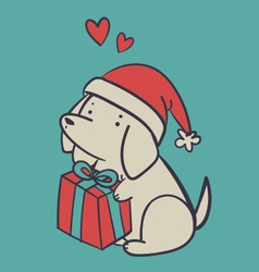Hand Drawn Dog Holding a Present vector
