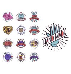 handmade needlework craft badges sewing fashion vector image