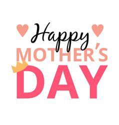 happy mother day mini heart crown background vec vector image