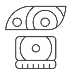 headlight thin line icon lamp vector image