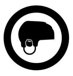 Hockey helmet icon black color in circle round vector