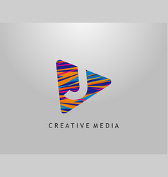 j letter logo play media concept design perfect vector image