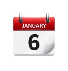 January 6 flat daily calendar icon Date vector