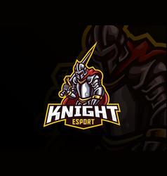 knight mascot sport logo design vector image