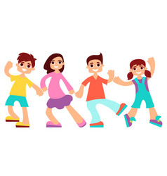 little children are dancing vector image