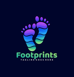 logo foot prints gradient colorful style vector image