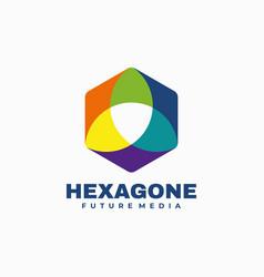 Logo hexagon color mascot style vector