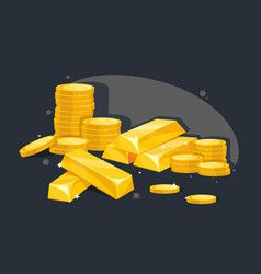 lot gold bars and coins vector image