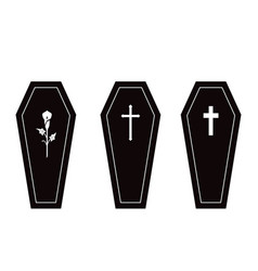 Macabre coffin black and white halloween icon vect vector