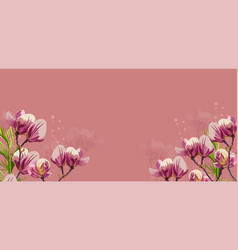 magnolia flowers on pink background vector image