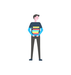 male student standing with pile books vector image