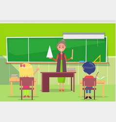 math lesson teacher and pupil school vector image