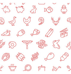 meat butchery thin line signs seamless pattern vector image