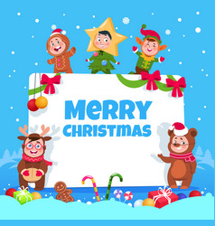 Merry christmas greeting card kids in christmas vector
