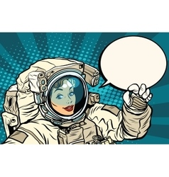 OK gesture female astronaut in a spacesuit vector