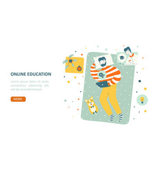 online study educationin flat style landing page vector image
