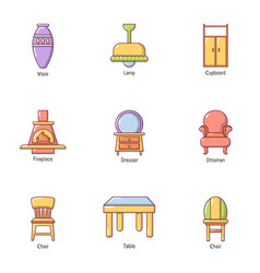 Outside town icons set cartoon style vector