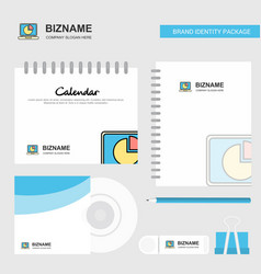 pie chart on laptop logo calendar template cd vector image