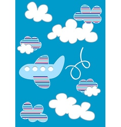 Plane in clouds with stripes vector image