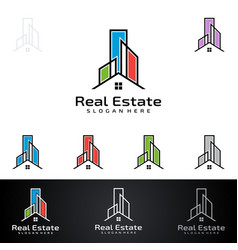 real estate logo with abstract property and home vector image