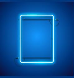 rectangular blue neon frame vector image