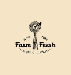 retro family farm logotype organic premium vector image