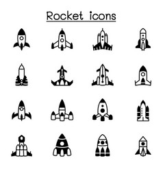 rocket spaceship spacecraft icon set graphic vector image