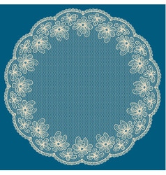 Round white lacy frame vector