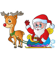 Santa claus with sledge and deer vector
