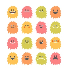 set hand drawn cartoon smiley monsters vector image