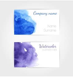 Set of watercolor business cards template vector