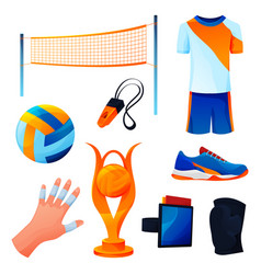 set valleyball equipment or sport accessories vector image