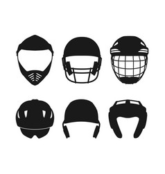 Silhouettes of sports helmets on white background vector