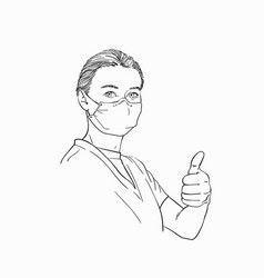 Sketch woman wearing medical face mask showing vector